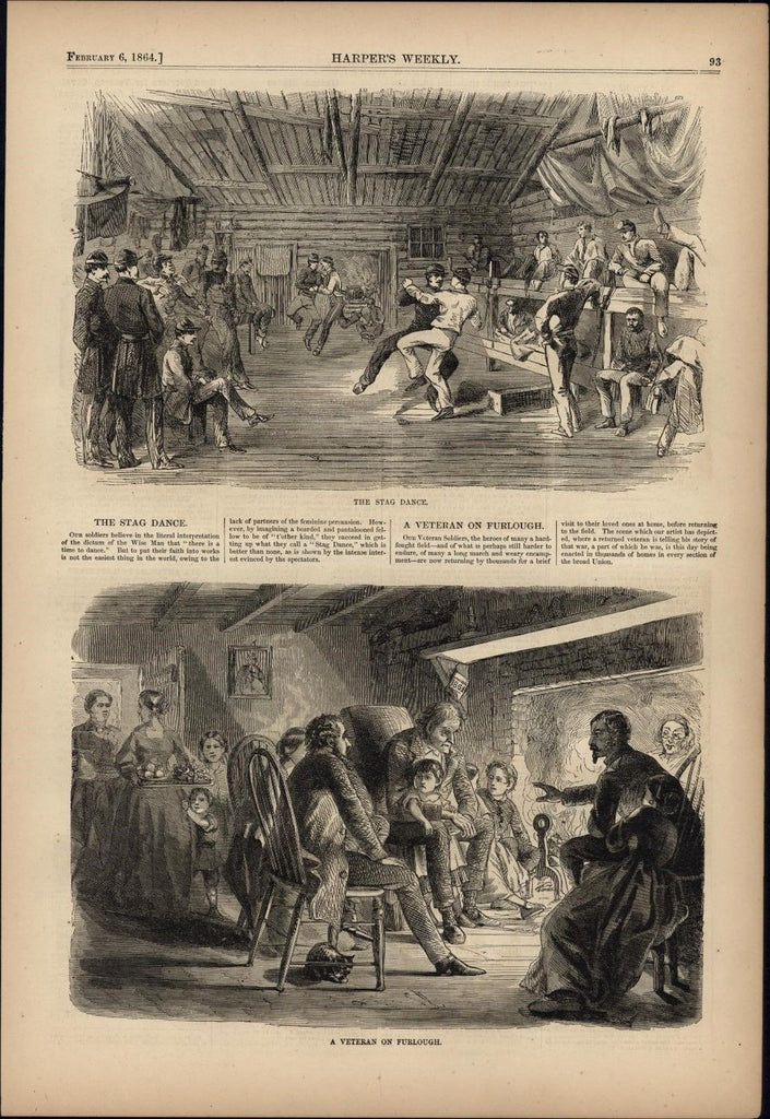 Soldiers Stag Dance & Veteran on Furlough 1864 antique Harpers Civil War print