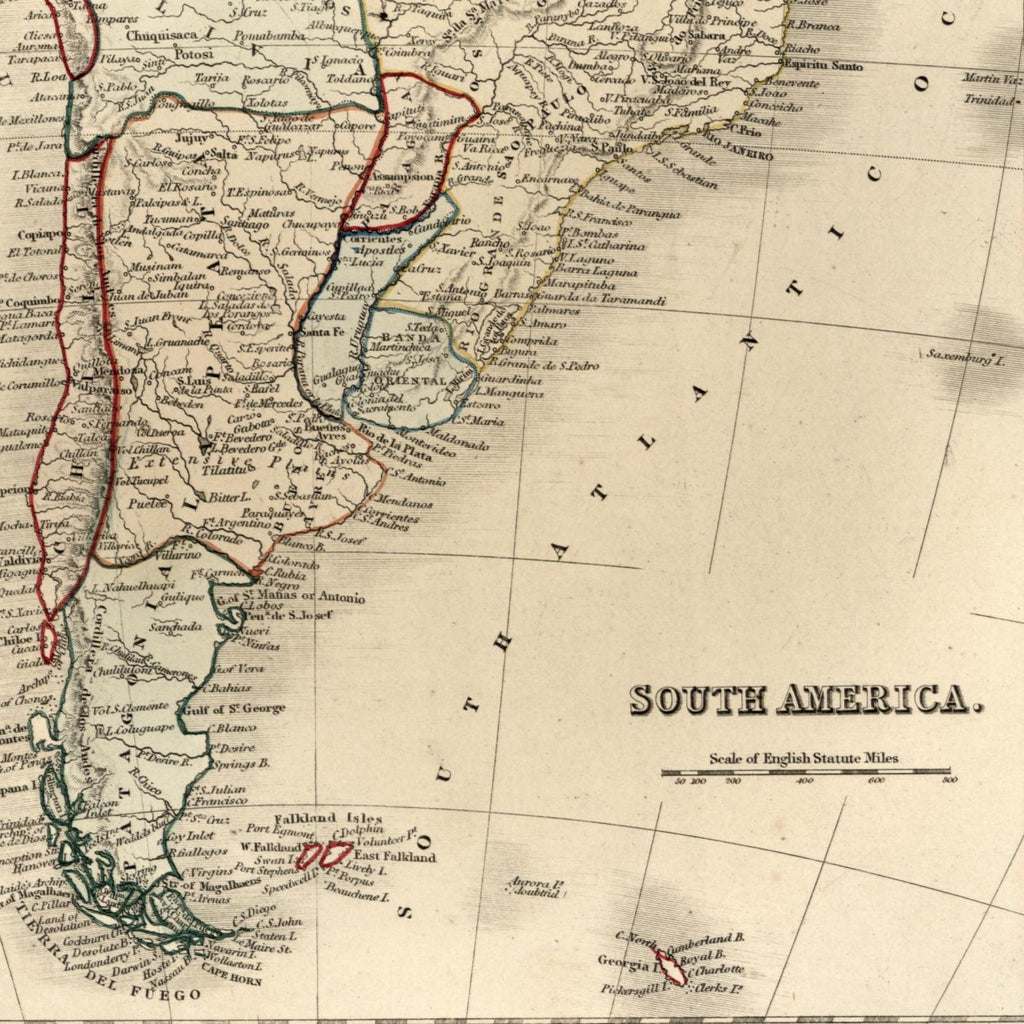 south america continent brazil columbia c 1840 old dower map orr