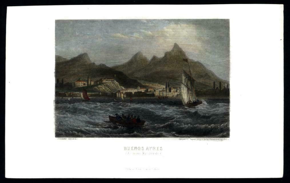 Buenos Aires Argentina c.1850 harbor view hand colored print