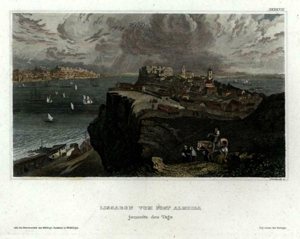 Lisbon Portugal Lisboa c. 1850 Meyer engraved city view beautiful hand color