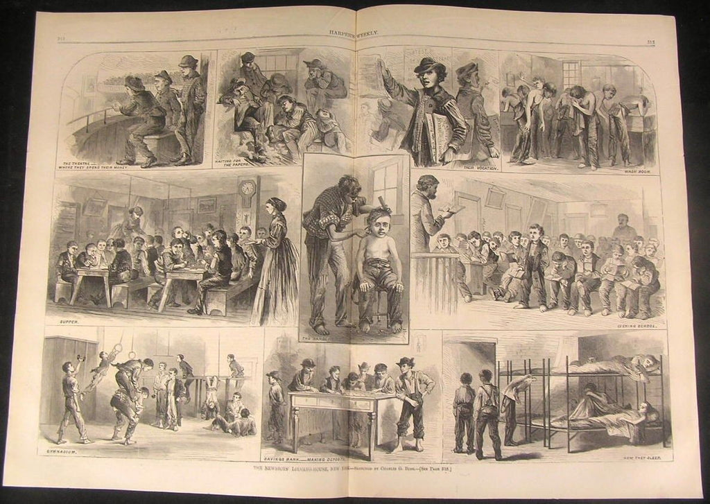 News Boys Lodging House New York 1867 antique wood engraved large print