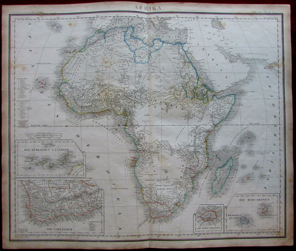 Africa continent 1853 large detailed Heck Schmidt Eberhardt German map