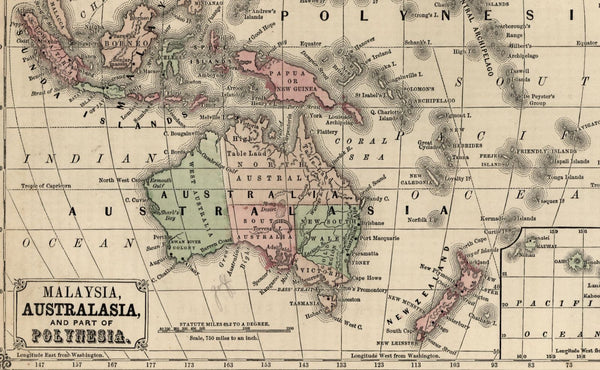 Australia hook shaped Lake Torrens Polynesia Sandwich Islands c.1850 old map