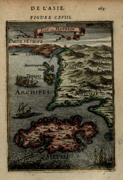 Greek Island of Lesbos Mytilene Greece 1683 Mallet miniature map hand color