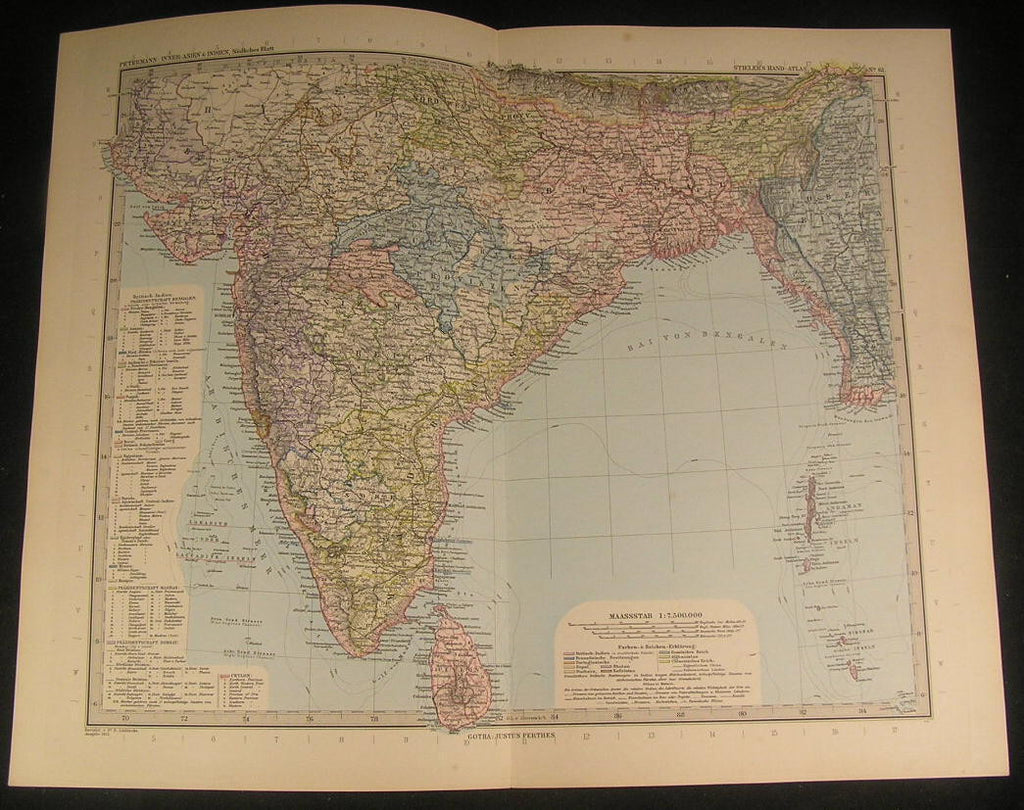 India Ceylon Bengal Burma Sri Lanka Mysore 1894 antique engraved color map