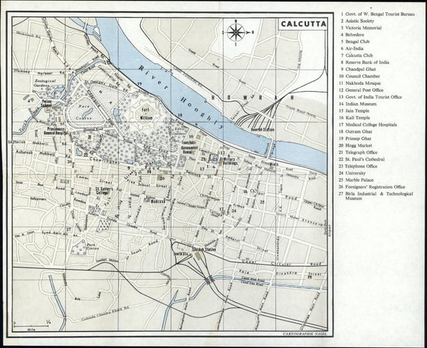 Calcutta India city plan c.1975 made in Geneva detailed interesting uncommon