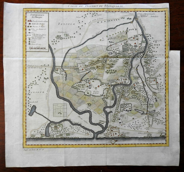 Tranquebar Danish Colony Coromandel Coast India 1761 engraved map hand color