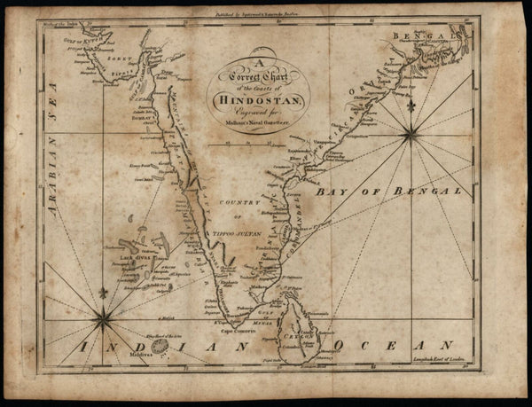 India coasts of Hindostan 1797 Hill engraved for Malham map Wheat & Brun #895