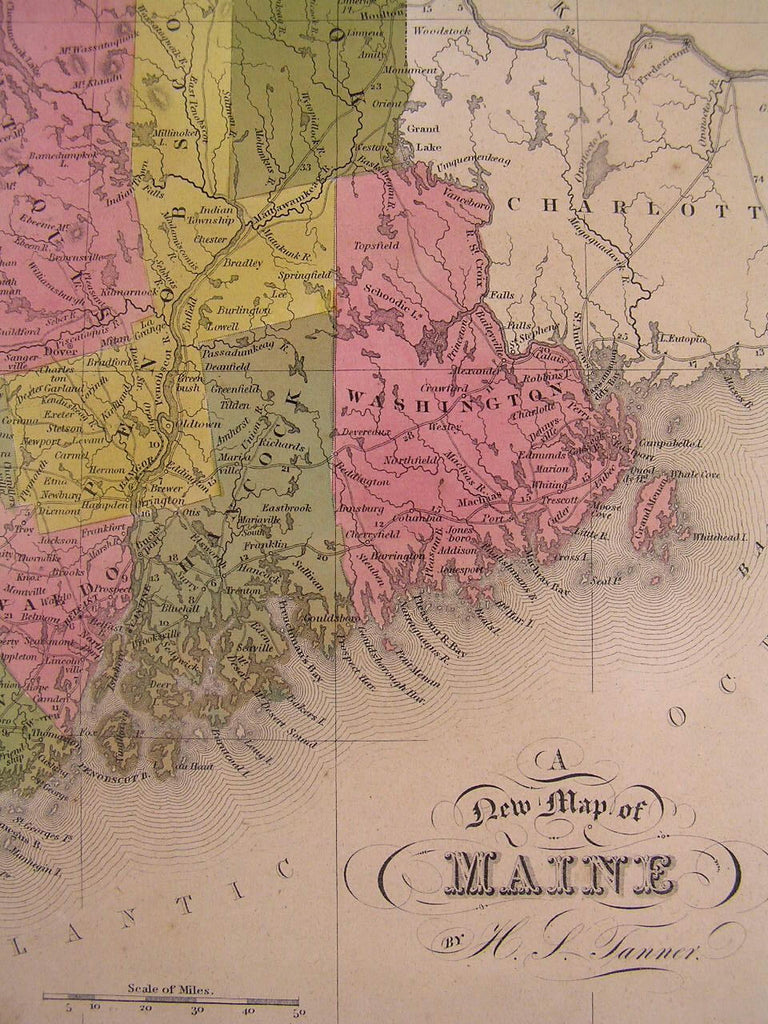 Maine state 1846 Tanner antique hand color fine old map Thompson # 78