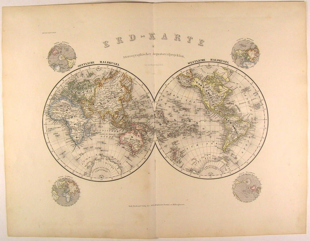 World Map in spheres Global spheres 1873 scarce lovely antique color Meyer map