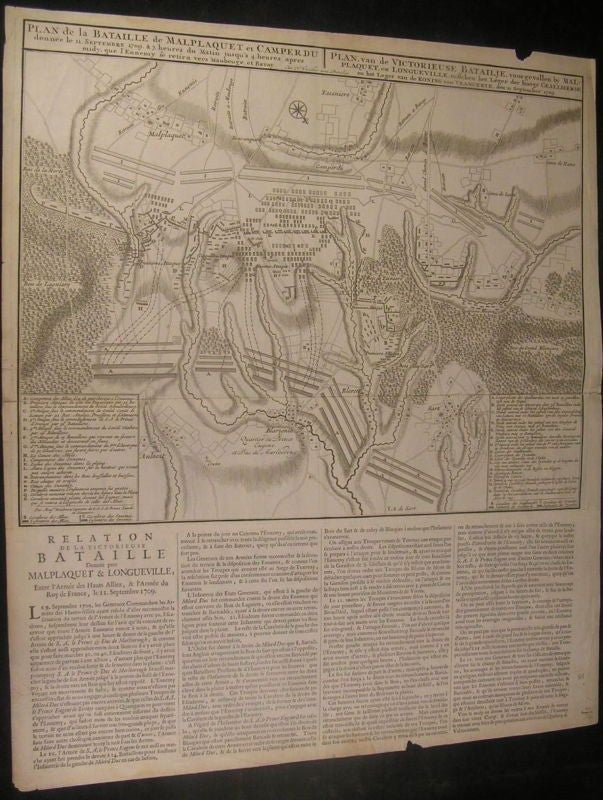 Battle Malplaquet War Spain Succession 1709 rare Vischer antique broadsheet map