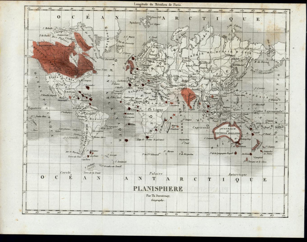 World British Empire Australia Antilles 1844 Duvotenay antique map old color
