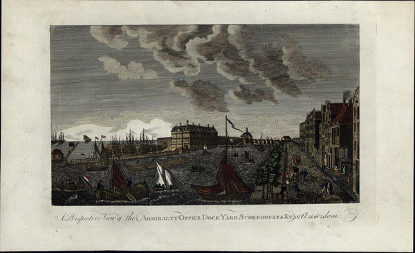 Amsterdam Holland Admiralty Office Dock Yard Storehouse c.1770 old harbor view