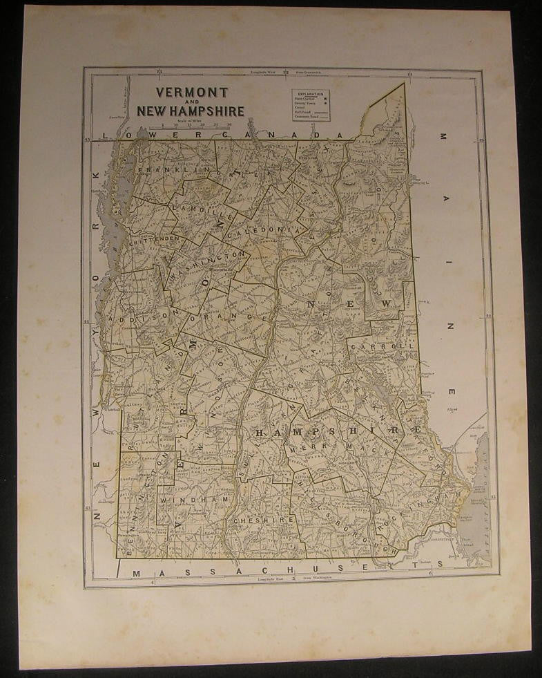 Vermont & New Hampshire 1842 scarce Morse & Breese old vintage color map