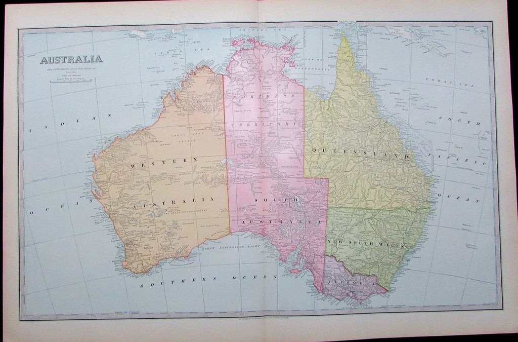 Australia 1888 nice large detailed 19th century antique map drawn by Scally