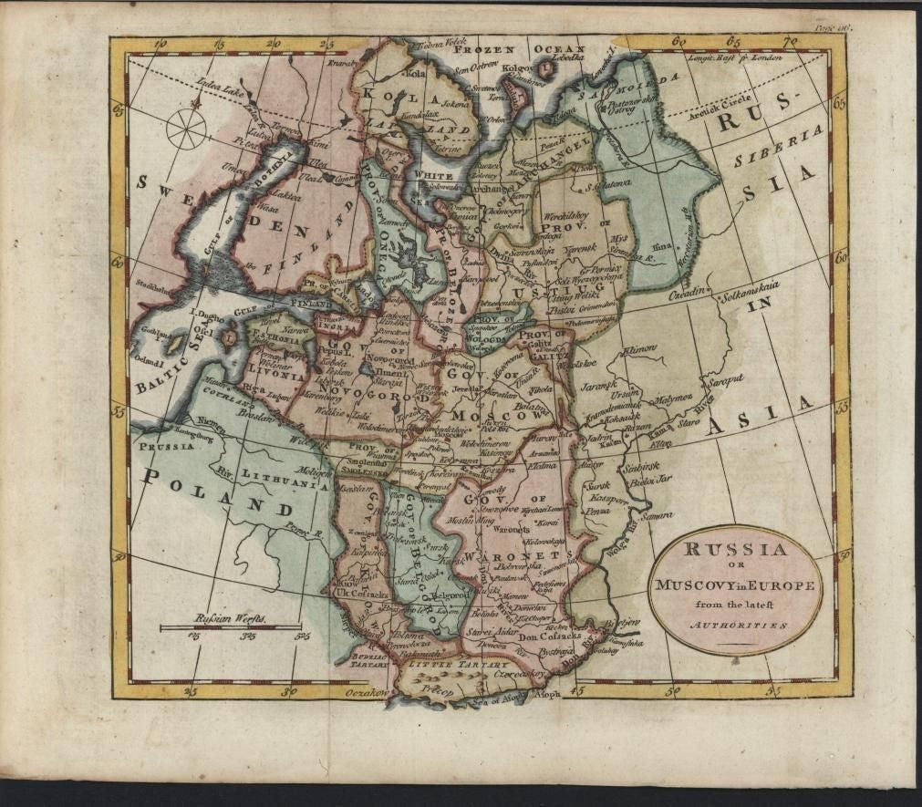 Russia Moscow Poland 1792 Kitchin fine scarce engraved antique hand map