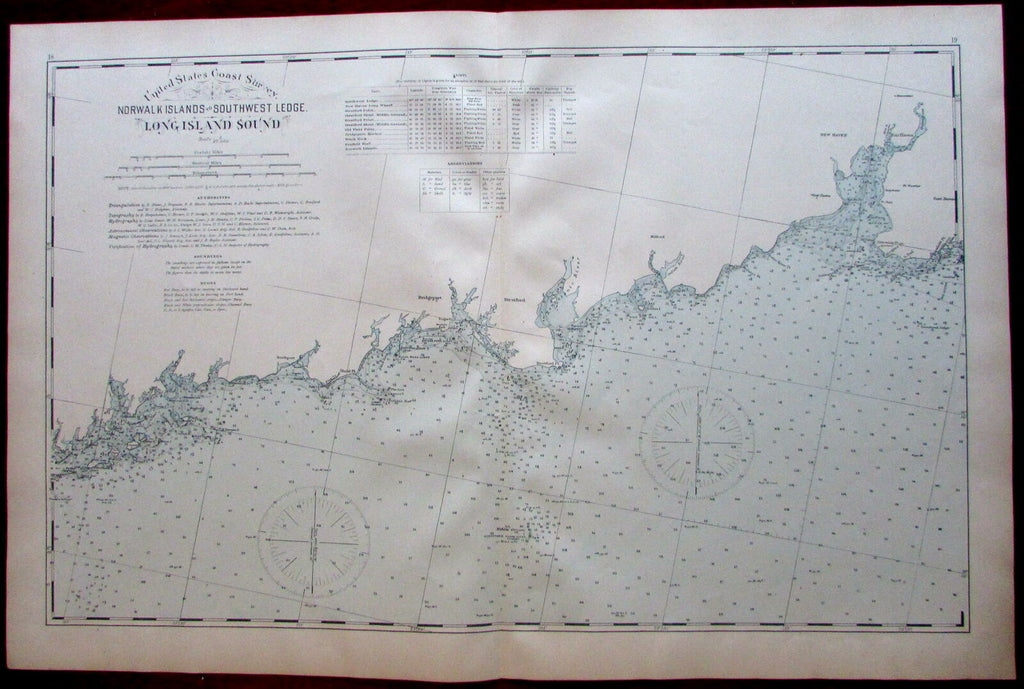 Long Island Sound Norwalk Islands - Southwest Ledge Bridgeport 1893 CT coast map