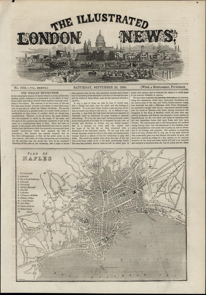 Naples Plan Map Citadel University Theaters wonderful 1860 unusual old print