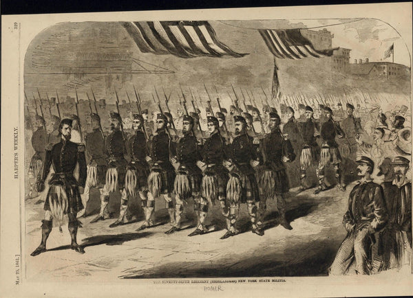 New York State Militia Marching in Kilts 1861 Homer old Harpers Civil War print