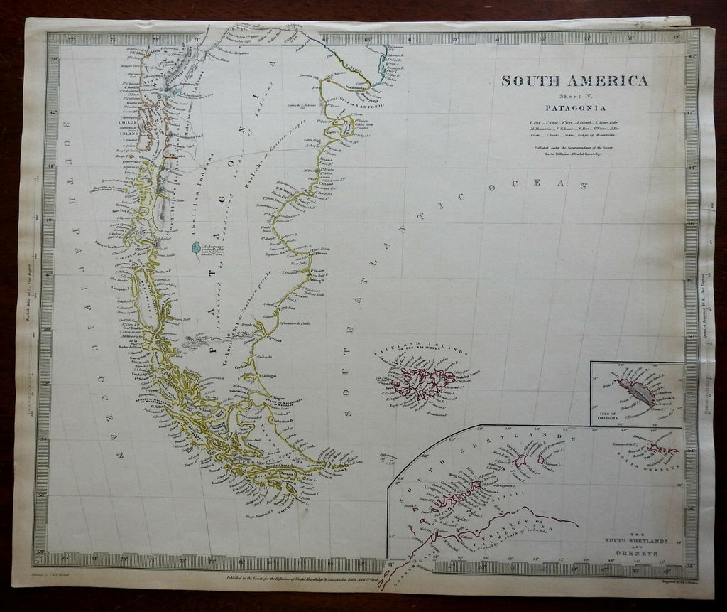 South America Patagonia Falkland Islands Chile c. 1840 SDUK detailed antique map