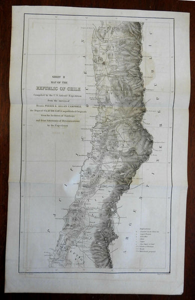 Republic of Chile Conception Santiago 1855 U.S. Astronomical Expedition map