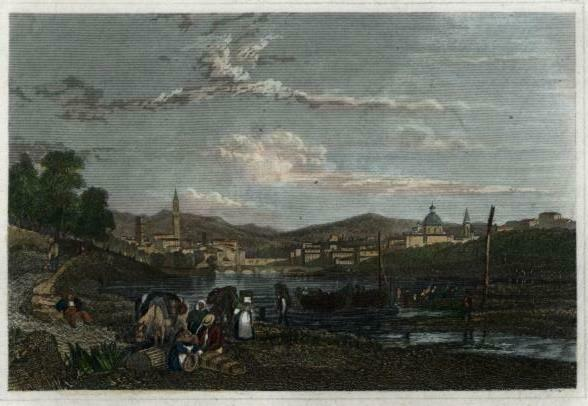 Florence Italy Firenze Italia c.1850 Meyer engraved view print lovely hand color