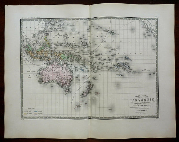 Australia Pacific Ocean Oceania Polynesia c. 1830's Brue large detailed map