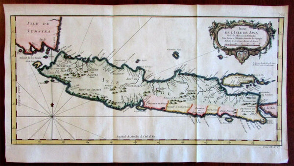 Java island Indonesia Madura Bali Dutch 1750 Bellin beautiful hand colored map