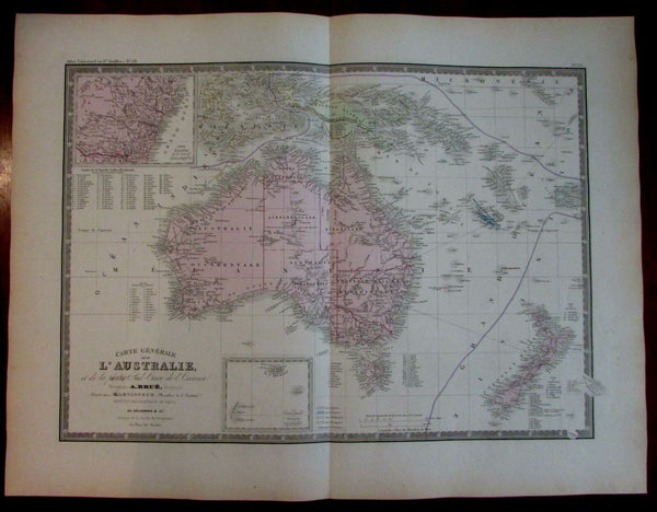 Oceania Australia fine detailed transitional 1875 Brue map New Zealand
