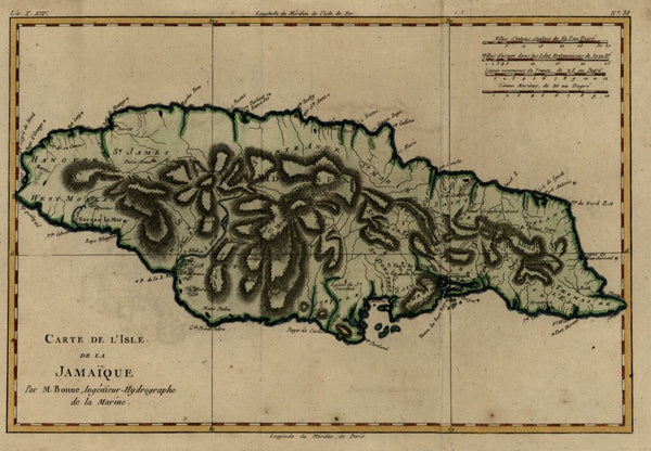 Jamaica Caribbean island map 1780 Bonne engraved map with lovely hand color