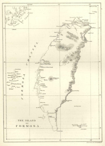 Island of Formosa Taiwan 1856 Perry Expedition litho island map