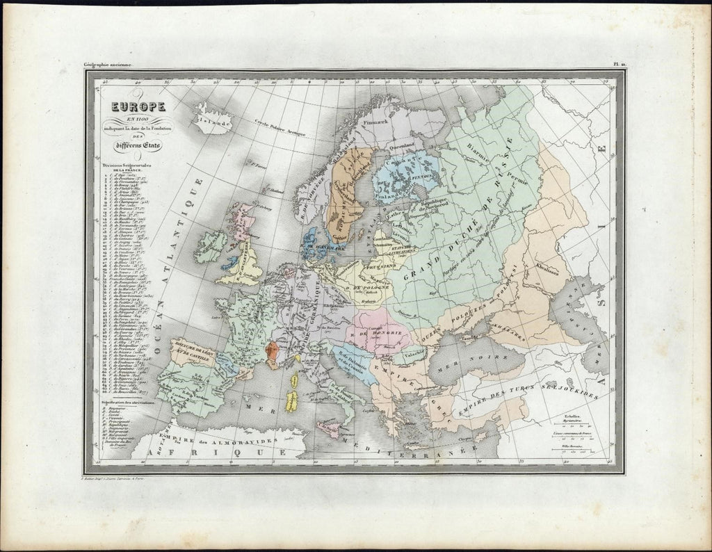 Europe showing foundation dates of countries c.1840 antique color map Bellier