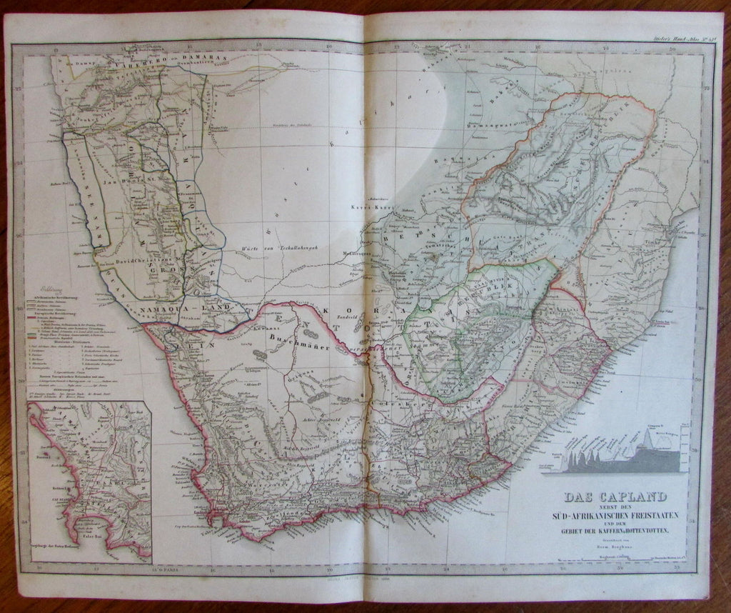 South Africa free states Capeland very detailed 1860 Berghaus scarce old map