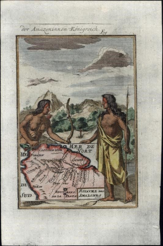 Amazons South America Kingdom 1719 charming antique decorative Mallet small map