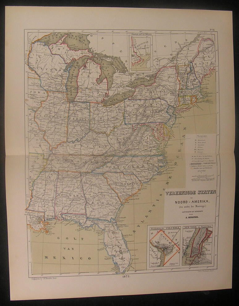 Eastern United States 1872 rare antique old vintage Kuyper hand color map