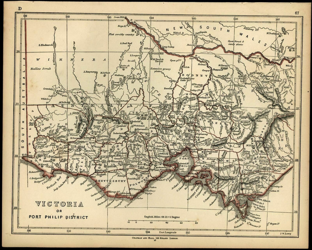 Detailed Map Of Australia.Victoria Australia 1852 Lowry Chapman Hall Scarce Detailed Map Tooley 883