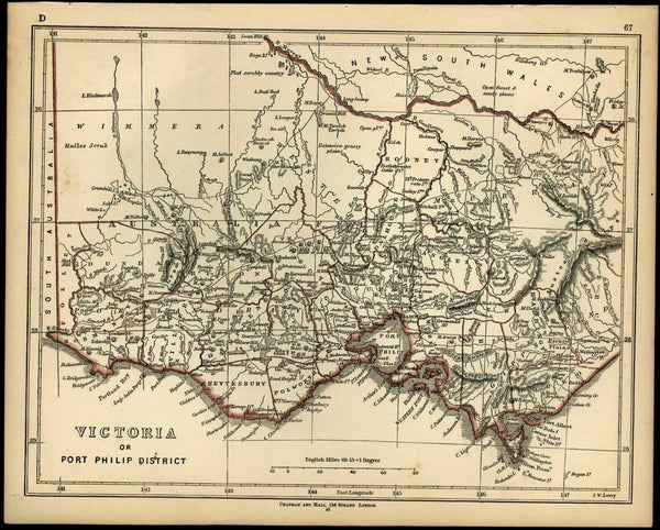 Victoria Australia 1852 Lowry Chapman Hall scarce detailed map Tooley #883