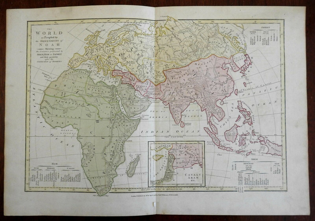 Sons Noah Ancient World Asia Europe Africa 1798 Wilkinson Biblical history map