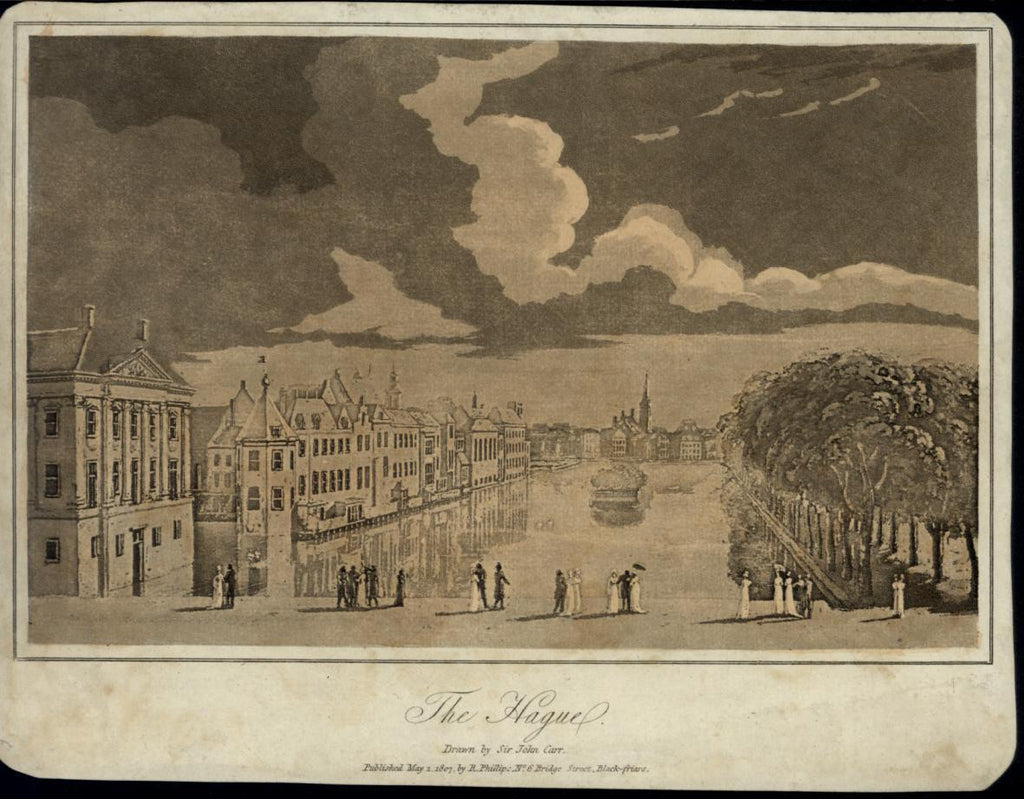 The Hague Canal Architecture Trees nice 1807 scarce antique Holland view print