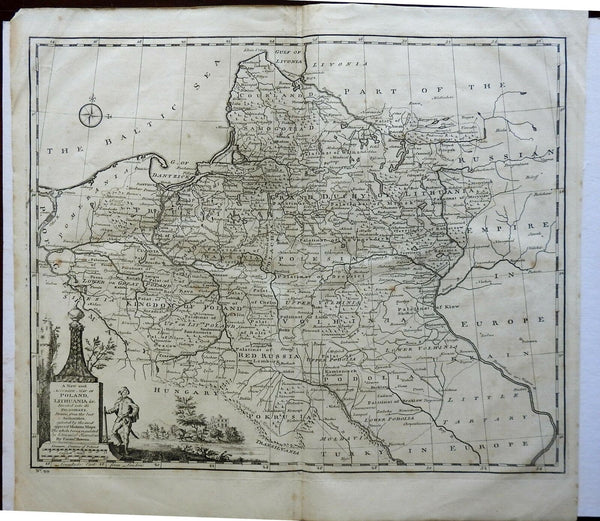 Polish-Lithuanian Commonwealth Eastern Prussia 1760 Bowen decorative map
