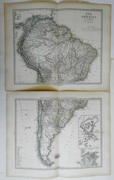South America Colombia Brazil Peru Chile Uruguay 1878 two sheet detailed map