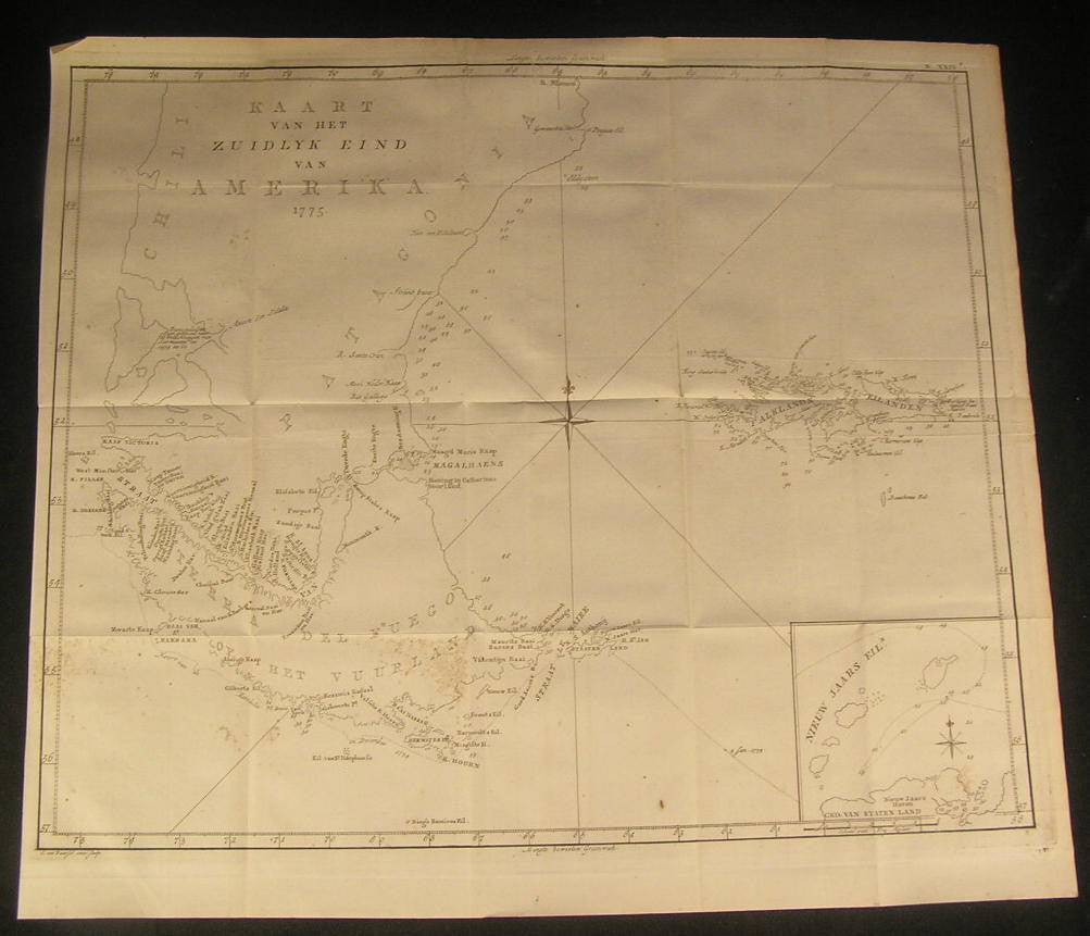 Tierra del Fuego South America Capt. Cook 1800 antique exploration chart map