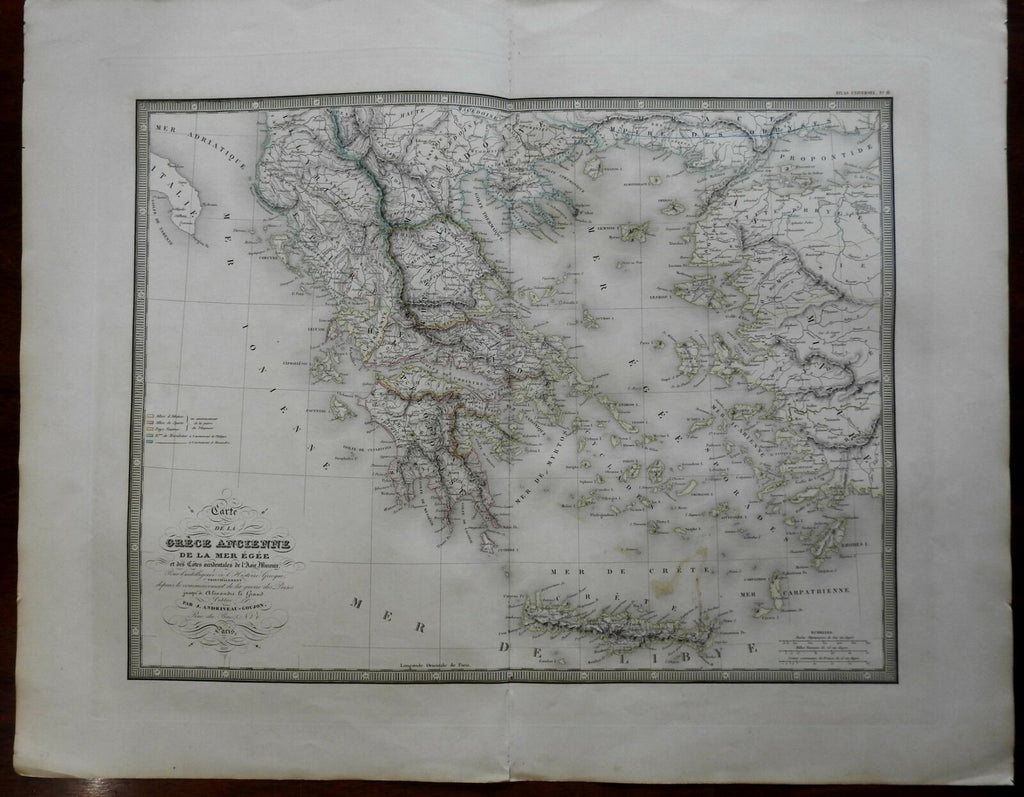 Switzerland Lake Geneva Lake Constance 1837 Goujon large detailed map hand color