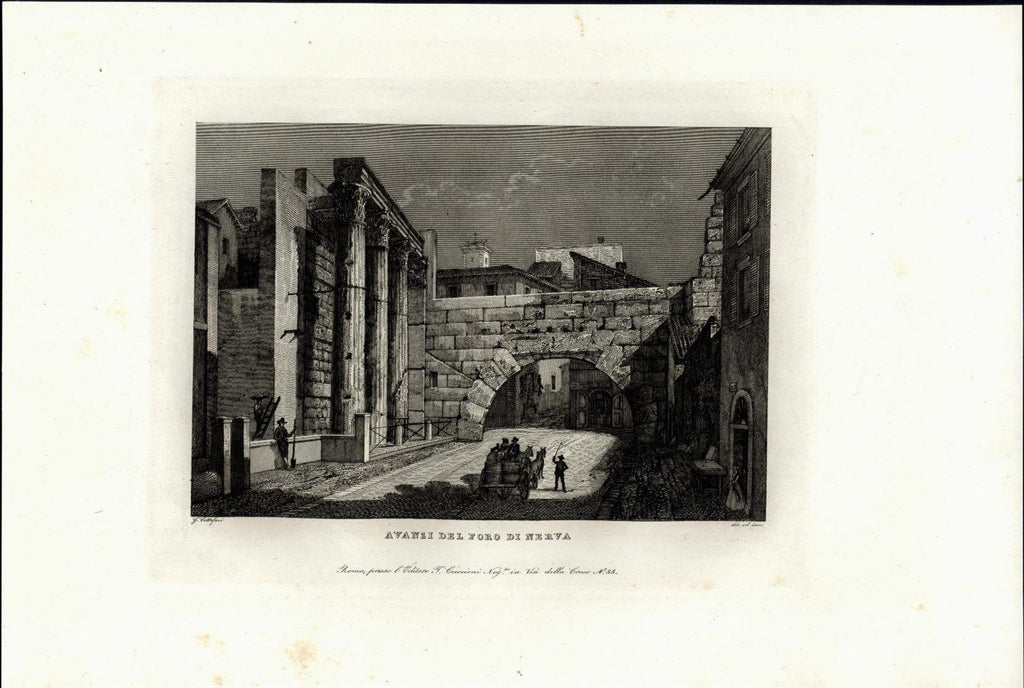 Remains Hole Nerva Arch Ruins  Rome Italy Roma ca. 1850 antique urban view print