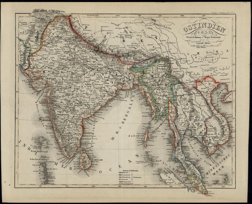 Southeast Asia India Hindu India Burma Empire 1855 Meyer Radefeld antique map