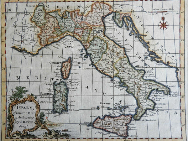 Italian Peninsula Tuscany Papal States Kingdom of Naples 1779 Bowen map