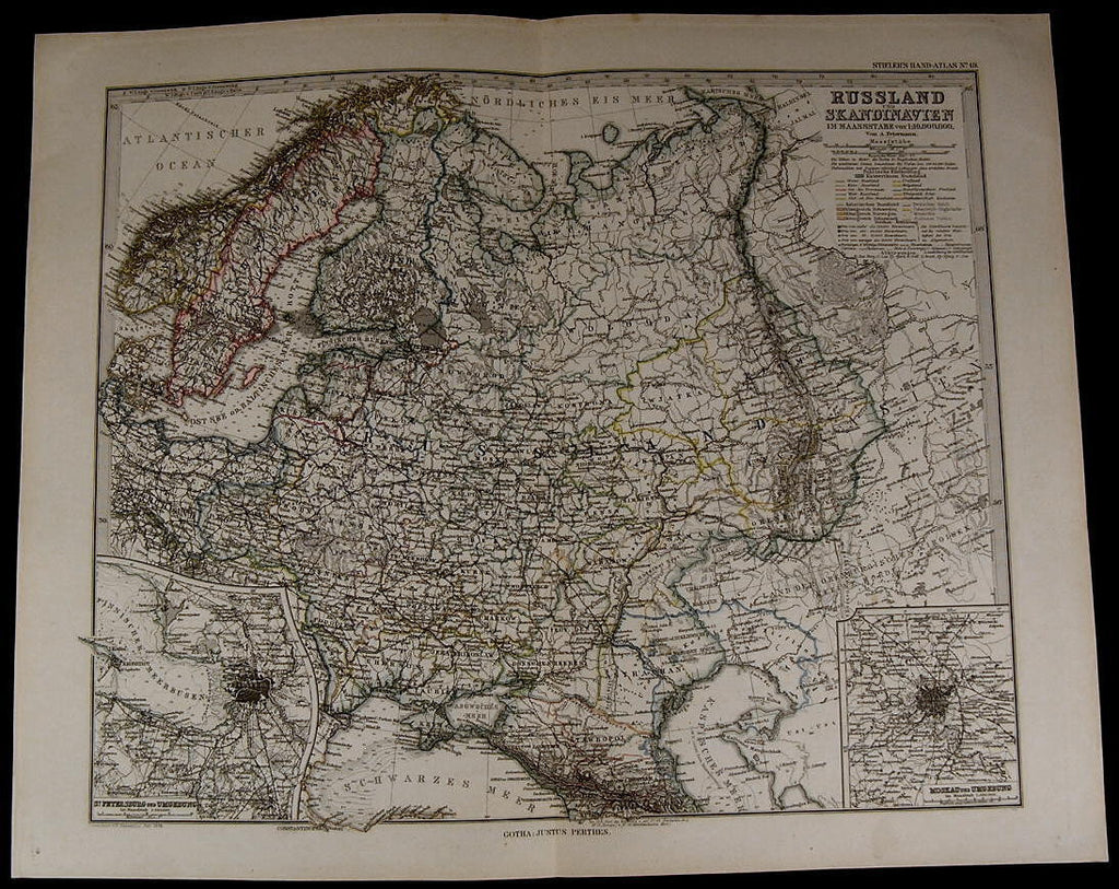 Russia Scandinavia Norway Sweden Denmark Finland nice 1885 fine old detailed map
