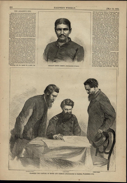 Lincoln Assassination Planning Capture of Booth wonderful 1865 unusual old print