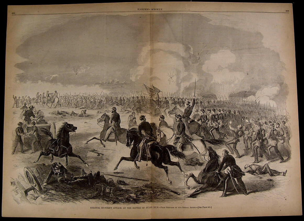 Battle of Bull Run Colonel Hunter's Attack 1861 great old print for display