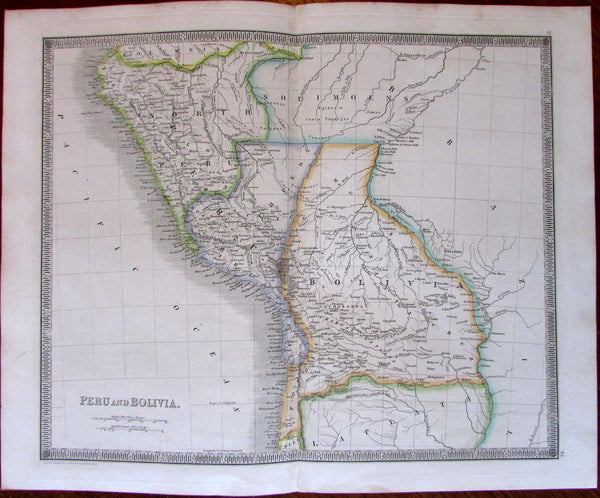 Peru Bolivia c.1842 nice Dower engraved map detailed Peru divided North & South